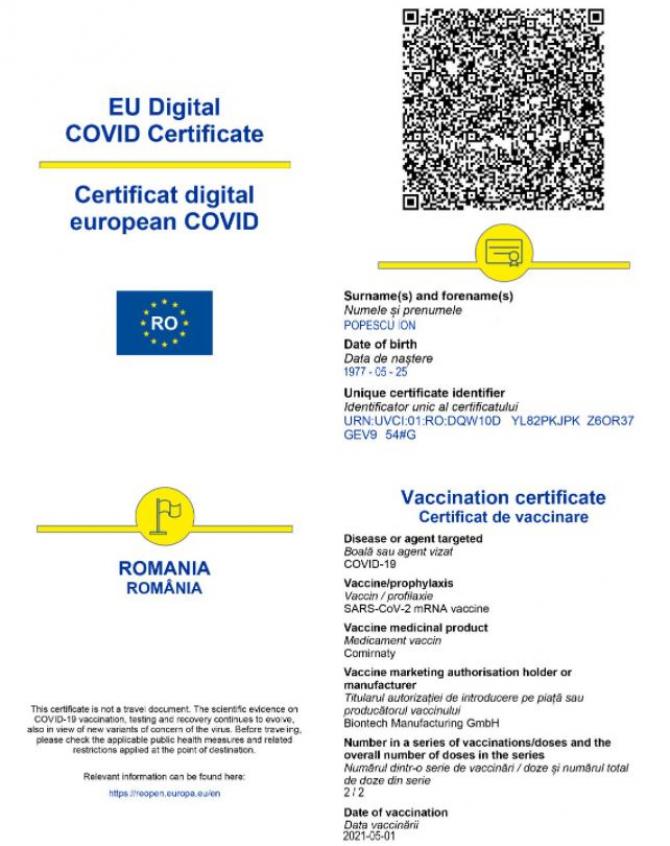 Platforma care generează certificatele digitale COVID-19 a devenit funcțională. Ce pași vor urma românii pentru obţinerea acestuia
