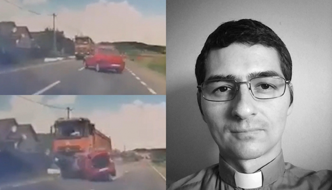 Un preot român a murit pe loc, iar soţia sa şi un copil de patru ani au fost grav răniţi, după ce Loganul său a fost spulberat de un TIR