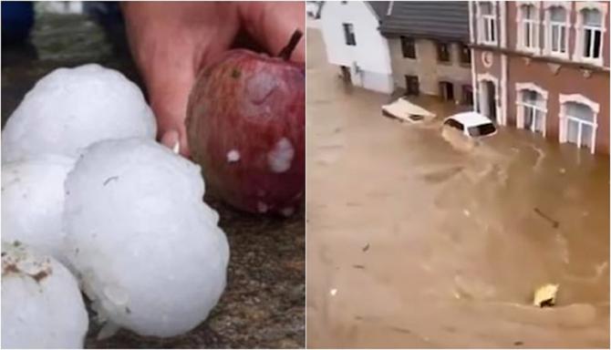 Vreme extremă în Europa: inundații dezastruoase în Germania și Belgia, grindină cât mărul în Italia și Polonia