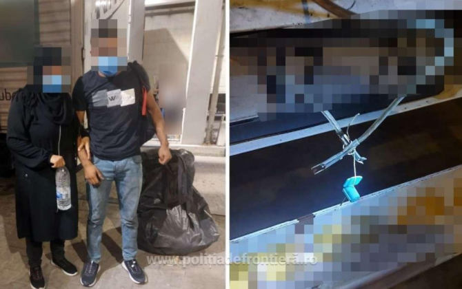 Ascunși într-un tir, doi migranți au încercat să intre în România. Erau înfășurați în folie de aluminiu și saci de plastic pentru a nu fi găsiți