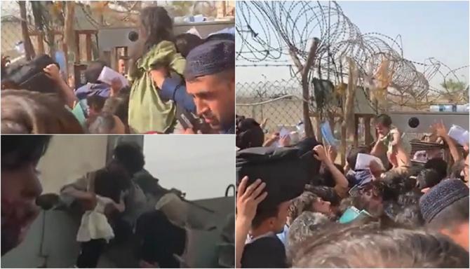 """Femeile afgane își aruncă bebelușii peste gardul de sârmă ghimpată în aeroportul din Kabul: """"Ajutați-ne!"""" - VIDEO"""
