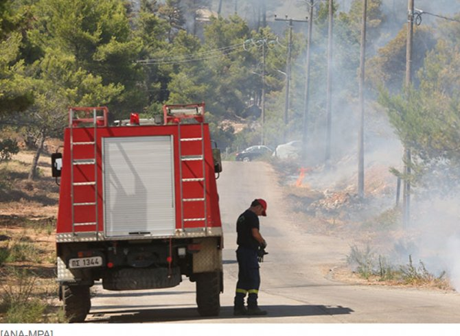 Grecia. Un incendiu a izbucnit lângă Atena, mai multe locuinţe evacuate. FOTO: captură ekathimerini.com