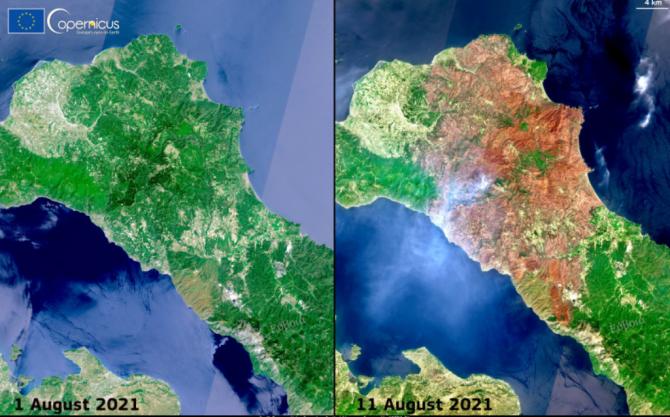 Insula Evia, înainte si dupa incendiile devastatoare. Imagini din satelit