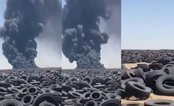 Incendiu uriaș la cel mai mare depozit de anvelope uzate din lume. Focul este vizibil din satelit
