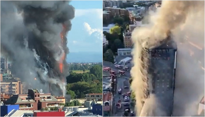 Italia. Noi imagini teribile cu blocul de 20 de etaje din Milano care a ars ca o torță - VIDEO