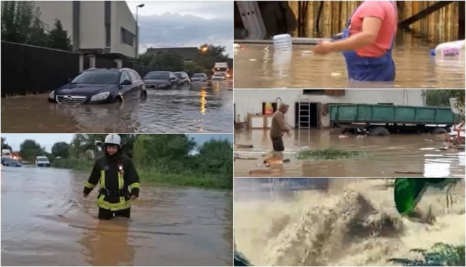 Prăpăd în mai multe localităţi din România aflate sub coduri de vreme rea. Oamenii au înotat în apă până la brâu