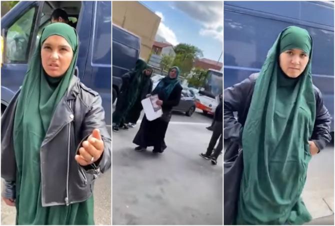 Mai multe romance deghizate în femei musulmane, prinse la cerșit în Franta (colaj FB)