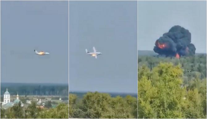 Un avion s-a prăbușit lângă Moscova. Posibil să nu fie niciun supraviețuitor - VIDEO