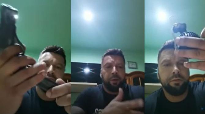 Un român s-a filmat cu un pistol și o grenadă, chemând poliția să-l aresteze Aveți veste antiglonț