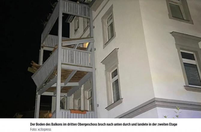 Germania. 11 victime după ce balconul pe care se ținea o petrecre s-a prăbușit. Printre răniți, un copil de 4 ani. FOTO: captură bild.de