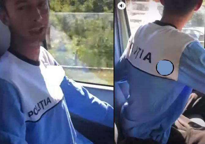 """Într-un tricou cu însemnele Poliţiei, un tânăr, cu berea în față, se laudă șoferului """"Nu te opreşte nimeni cu Poliţia în cabină. Sursa - TV Sud"""