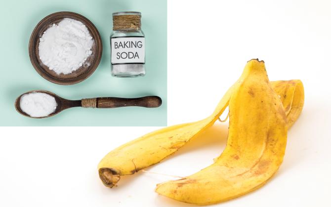 Tăiați o coajă de banană și amestecați-o cu o lingură de bicarbonat de sodiu. Un truc genial și ieftin care îți va transforma pielea!