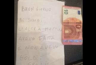 """Biletul lăsat de """"hoțul cinstit"""" din Italia"""