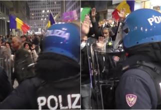 Italia. Steagul României, fluturat la protestele antivacciniştilor - VIDEO