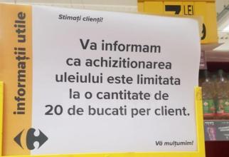 Românii golesc magazinele de ulei și zahăr de frica scumpirilor. Marile supermarketuri limitează deja vânzările. FOTO: captură monitorulsv.ro