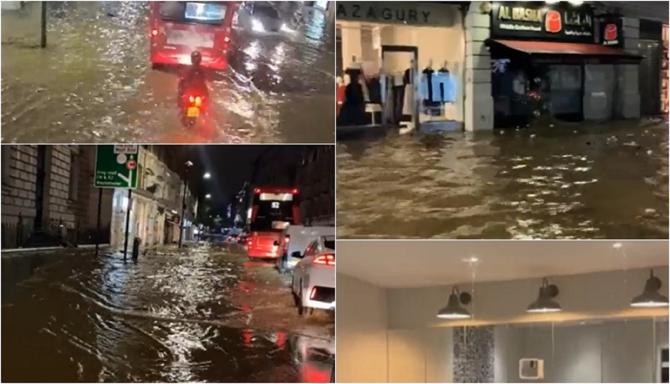 Londra, paralizată de inundații după ploile torențiale de noaptea trecută. Oamenii şi-au văzut munca distrusă de ape